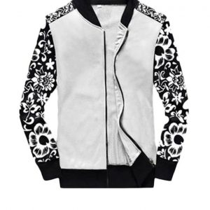 Printed Sleeve White Fleece Jacket mw54