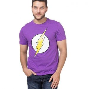 Purple The Flash Printed Cotton T-Shirt For Men mw385