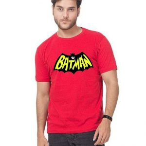 Red Batman Printed Half Sleeves T shirt For Her mw81