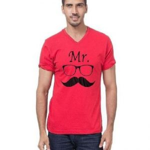 Red Cotton Printed T-Shirt for Men mw453