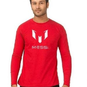 Red Round Neck Full leleeves Messi Graphics T shirt mw388