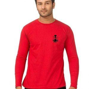 Red Round Neck Full Sleeves Wolverine Logo T shirt mw460