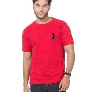 Red Round Neck Half Sleeves Wolverine Logo T shirt mw397