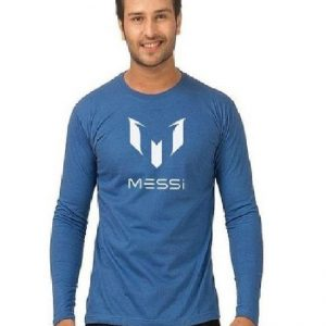 Royal Blue Full Sleeves Messi T shirt mw39