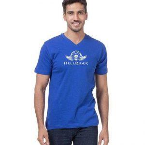 Royal Blue Hell Rider Printed T Shirt mw88