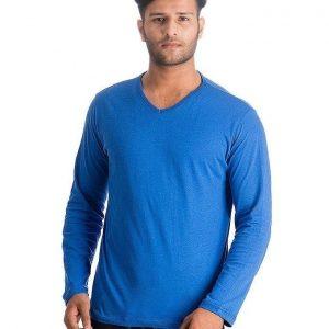 Royal Blue V Neck Full Sleeves Basic T Shirt For Him mw83