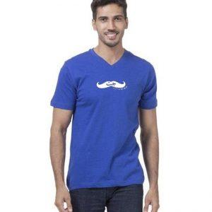 Royal Blue V Neck Half Sleeves Jutt Graphics T-Shirt for Men mw86