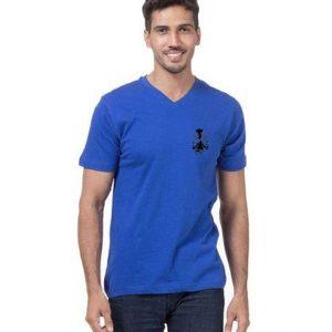 Royal Blue V neck half Sleeves Wolverine Logo T shirt mw90