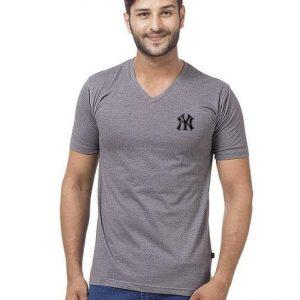 Steel Grey V Neck Half Sleeves New York Logo T Shirt mw445