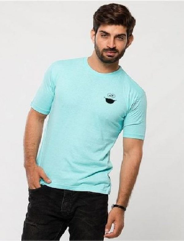 Turquoise Cotton Cookie Logo T-Shirt for Men mw409