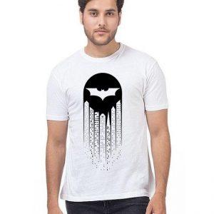 White Batman Printed T shirt For Him mw448