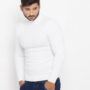 White Cotton Stretchable Sweater - 808-White mw90