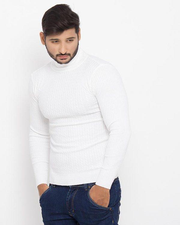 White Cotton Stretchable Sweater - 808-White mw90