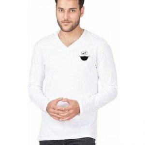 White Cotton V-Neck Cookie Logo T-Shirt for Men mw93