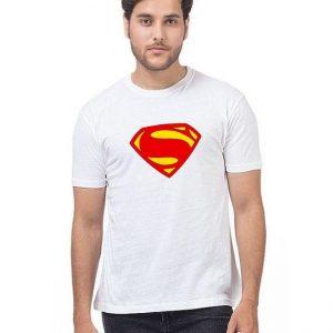White Superman Printed T shirt For Him mw444
