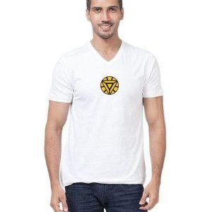 White V Neck Half Sleeves Iron Man Printed T shirt mw455