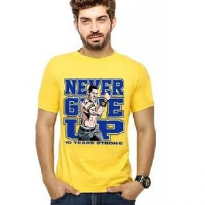 Yellow Cotton Never Give Up Graphics T-Shirt for Men mw403