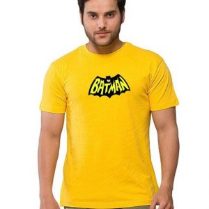 Yellow Round Neck Batman Printed Half Sleeves T shirt mw95