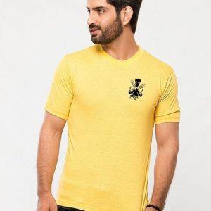 Yellow Round Neck Half Sleeves Wolverine logo T shirt mw458
