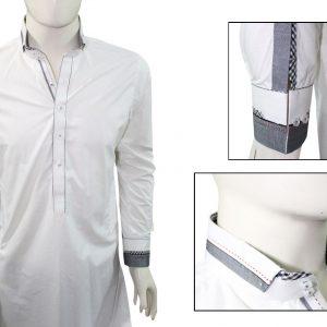 Ash clothing SK016 White double collar design shalwar kameez