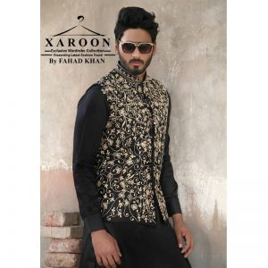 Black Golden Waist Coat-XWC38 By Xaroon