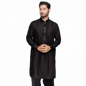 Edge - Black Leather Design Kurta Shalwar