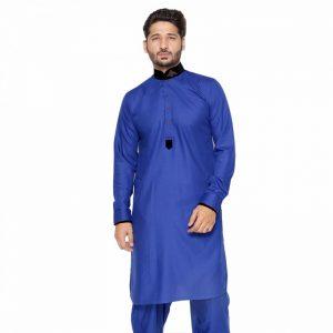 Edge - Royal Blue Copper Design Kurta Shalwar