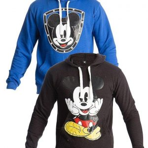 Mardaz Pack of 2 - Black & Blue Fleece Printed Hoodies For Men mw36