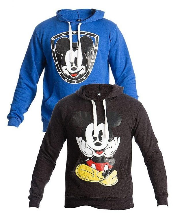Mardaz Pack of 2 - Black & Blue Fleece Printed Hoodies For Men mw36