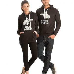 Mardaz Pack of 2 - Black Fleece Printed Hoodies For Couple mw67