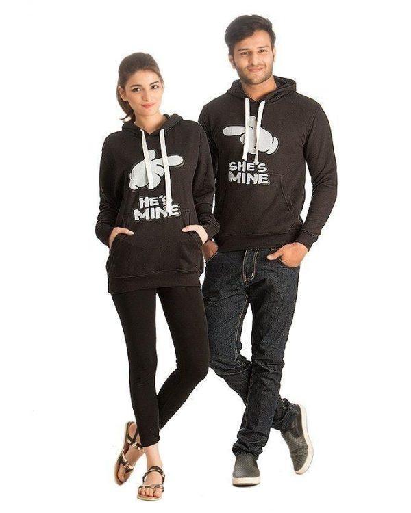 Mardaz Pack of 2 - Black Fleece Printed Hoodies For Couple mw67