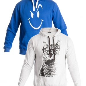 Mardaz Pack of 2 - Blue & Grey Fleece Printed Hoodies For Men mw50