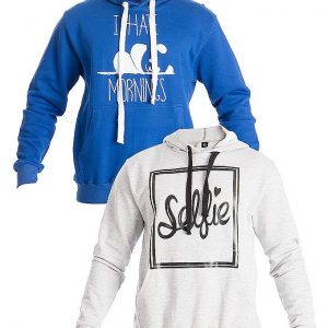 Mardaz Pack of 2 - Blue & Grey Fleece Printed Hoodies For Men mw54