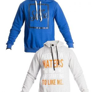 Mardaz Pack of 2 - Grey & Blue Printed Hoodies For Men mw31