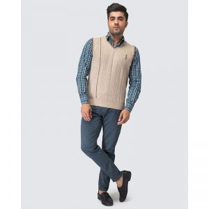 Oxford Beige Sleeve Less Sweater -093