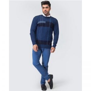 Oxford Blue Full Sleeves Sweater -073