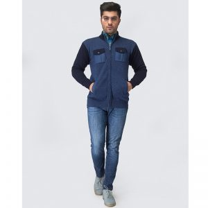 Oxford Blue Full Sleeves Zip Sweater -001
