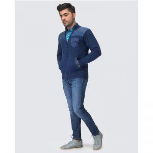 Oxford Blue Full Sleeves Zip Sweater -038