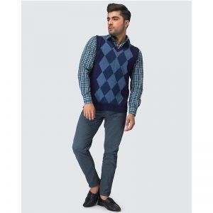 Oxford Blue Sleeve Less Sweater -035