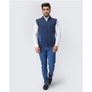 Oxford Zip Blue Sleeve Less Sweater -021