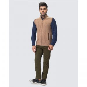 Oxford Zip Brown Sleeve Less Sweater -022