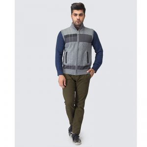 Oxford Zip Gray Sleeve Less Sweater -082