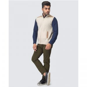 Oxford Zip Natural Sleeve Less Sweater -023