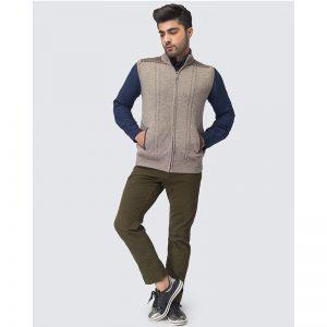 Oxford Zip Viso Sleeve Less Sweater -024