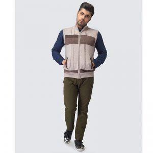 Oxford Zip Viso Sleeve Less Sweater -084
