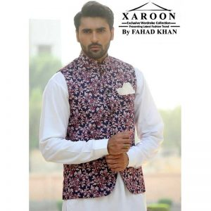 Purple Multi Colour Flower Waist Coat - XWC73 By Xaroon