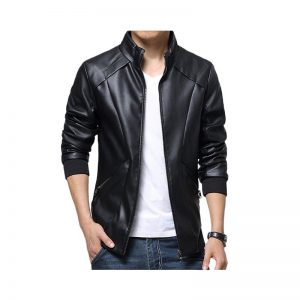 Slimfit Stylish Casual Black Jacket Faux Leather 39 Otf -Black By Cavalry