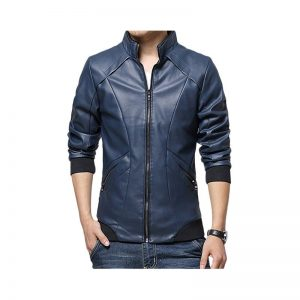 Slimfit Stylish Casual Blue Jacket Faux Leather 41 Ot Blue By Cavalry