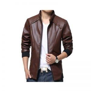 Slimfit Stylish Casual Brown Jacket Faux Leather 40 Otf -Brown By Cavalry