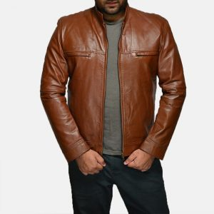 Tan Brown Leather Casual Jacket 2011 By Di Pelle